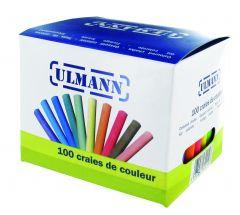 Boîte de 100 craies couleurs assorties - bâtons ronds