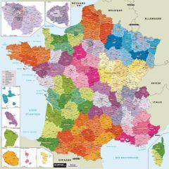 Carte de France administrative NOUVELLES 13 régions - magnétique