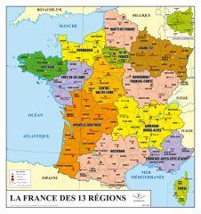 Carte de France administrative nouveau découpage  - souple