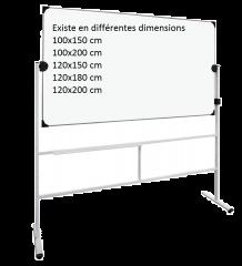 tableau pivotant mobile 120x150 cm - double face -émail blanc
