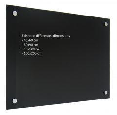 Tableau verre magnétique noir - 45x60 cm